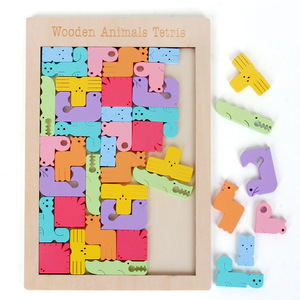 Creative Animal Pattern 3D Wooden Puzzle Tangram Math Toys Pre-school Kids Intellectual Education Baby Toy
