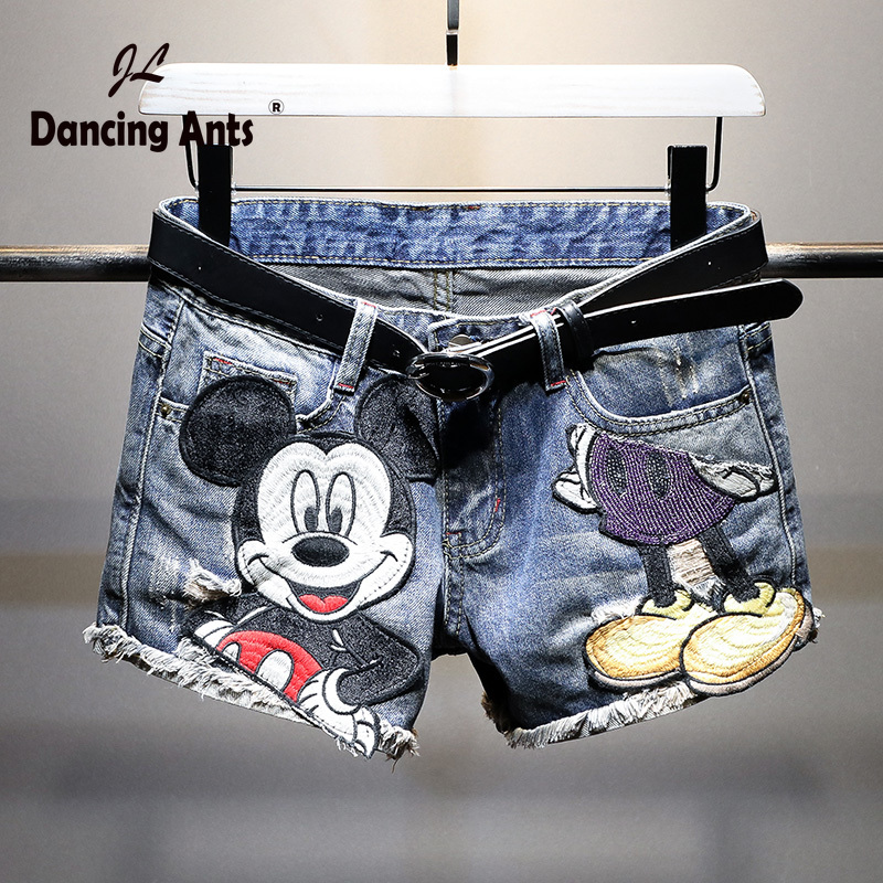 Women Shorts Jeans  Denim Shorts Woman Cartoon Print Leg-openings Plus Size Ripped Sequins Shorts  Hot Pants Jeans Pockets 2020