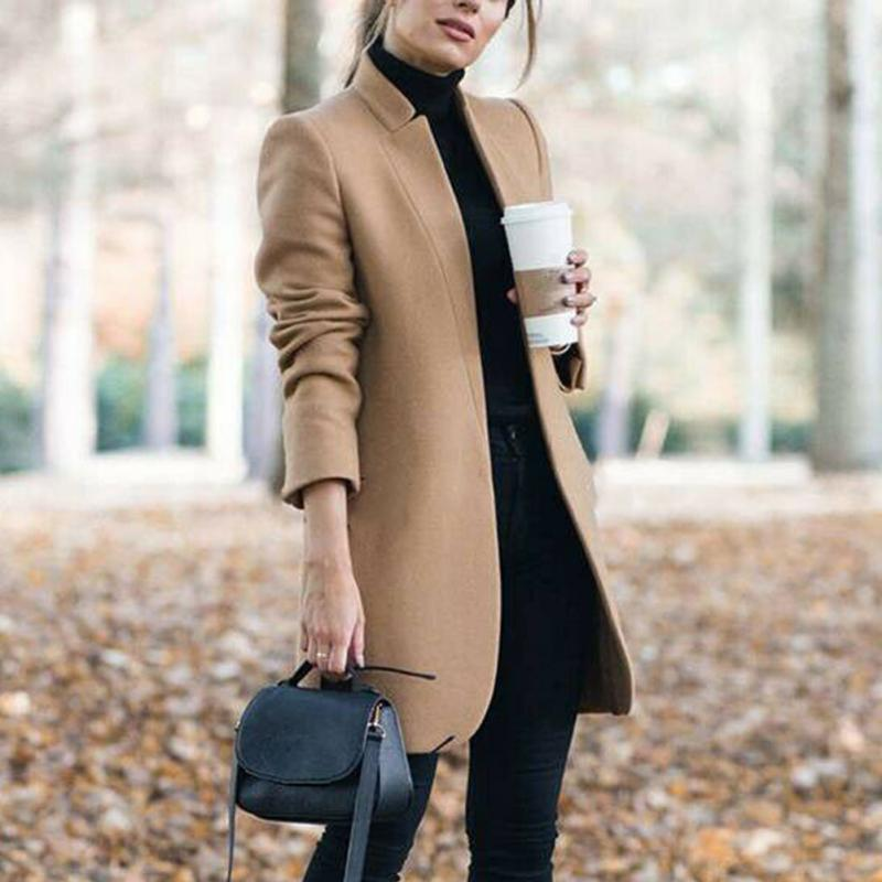 Office Long Solid Elegant Outwear Ladies Slim Fit Outdoor Winter Warm Shopping Women Wool Coat Fashion Stand Collar Trench Tops