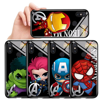 For Xiaomi mi 8 Lite Case mi 8 9 SE F1 Cartoon Marvel Avenger Superhero Ironman Spiderman Cover Glossy Tempered Glass Casing image