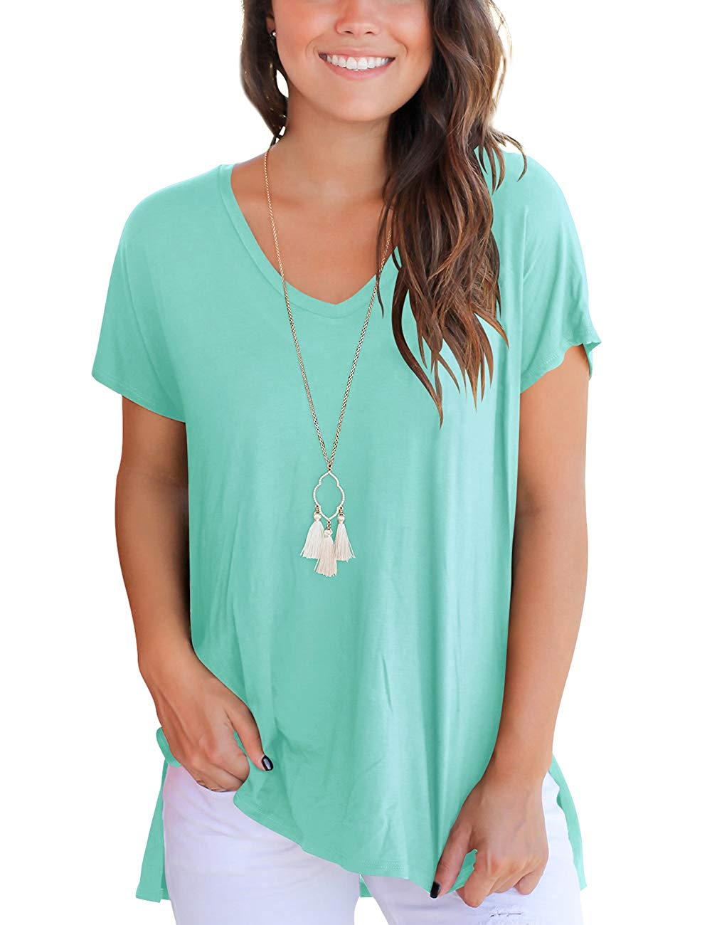 Women's Short Sleeve High Low Loose T Shirt Basic Tee Tops with Side Split Gothic Full  Three Quarter  Cotton