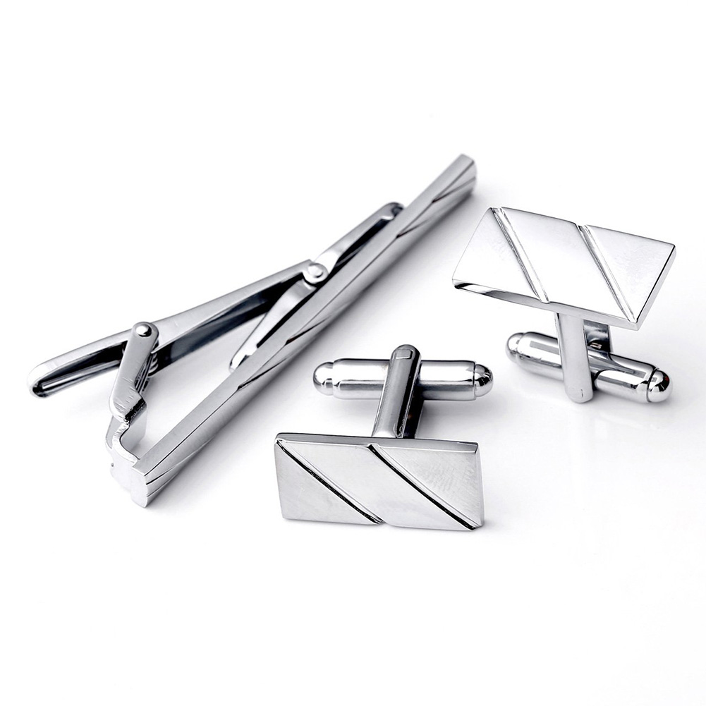 Striped Wedding Tie Clip Casual Portable Party Gift Sturdy Accessories Business Decoration Cufflink Set Shirt Jewelry Adult
