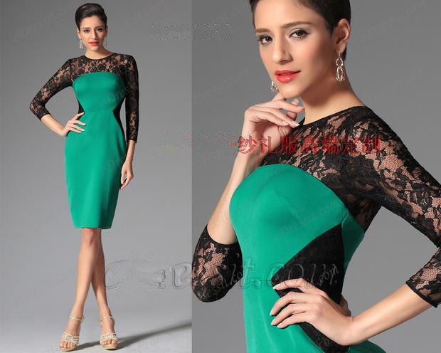 Vestido De Madrinha 2015 New Fashion Elegant Three Quarter Sleeves Knee-Length Mother Of The Bride Lace Dresses Free Shopping