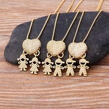 Colgante de cadena con forma de corazón para niña y niño, collar de Color dorado, joyería para fiesta, boda, Año Nuevo, 2021