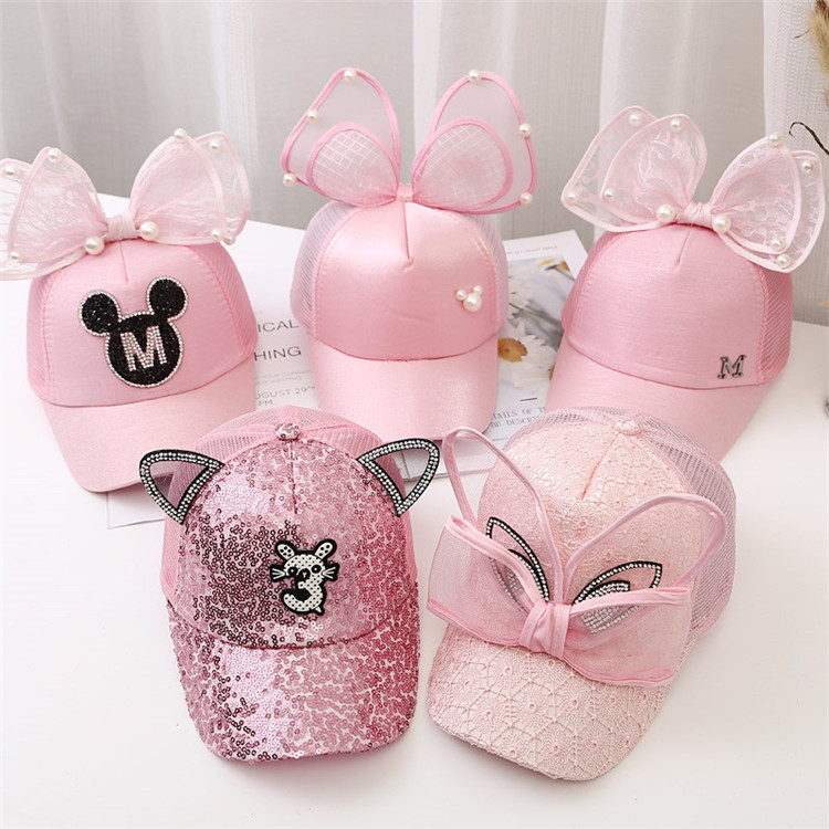 Berretto da Baseball per bambini Big Bow cartoon Girls Pearl Snapback cappellini di protezione solare Mesh Rabbit Ear Kids Baby Trucker cappello da sole 1
