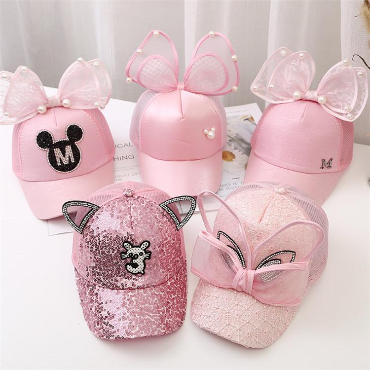 Children Big Bow cartoon Baseball Cap Girls Pearl Snapback Sun Protection Caps Mesh Rabbit Ear Kids Baby Trucker Sun Hat