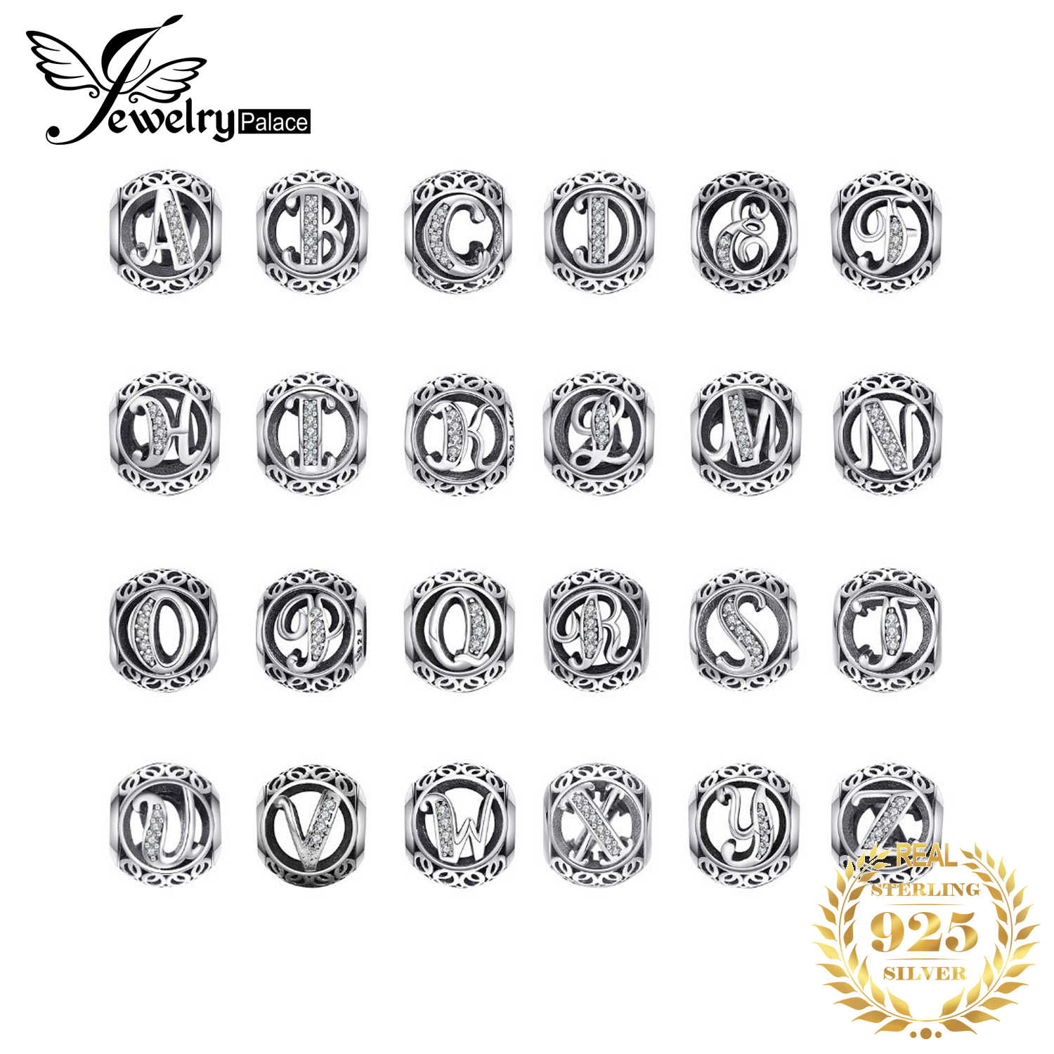 JewelryPalace Vintage Letter A-R Cubic Zirconia Aucthentic 925 Sterling Silver Charmสร้อยข้อมือกำไลข้อมือDIYเครื่องประดับสำหรับของขวัญ