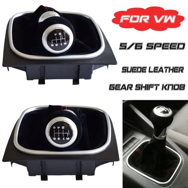 Pomo de cambio de marchas de cuero, cubierta de maletero de Polaina, 5 y 6 velocidades, para Volkswagen VW Golf 5, 6, MK5, MK6, R32, GTI, 2006 2012