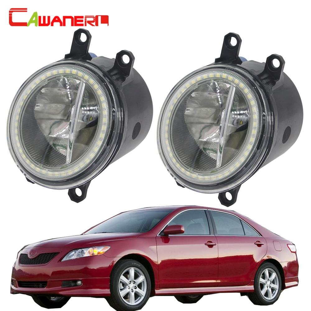 Cawanerl For Toyota Camry 2006 2007 2008 2009 2010 2011 2012 Car H11 LED Bulb Fog Light + Angel Eye Daytime Running Light 12V