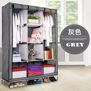 Portable Diy Storage Cabinet Fabric Wardrobe Clothes Organizer Cabinets For Clothing With Shelves Furniture For Home simple fashion wardrobe non woven fabric steel frame reinforcement standing storage organizer clothes cabinet bedroom furniture