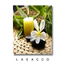 Laeacco Flowers Candle Green Leaves Art Prints Oils Painting Canvas With Framed Wall Home Decoration Still life Oil Painting(China)