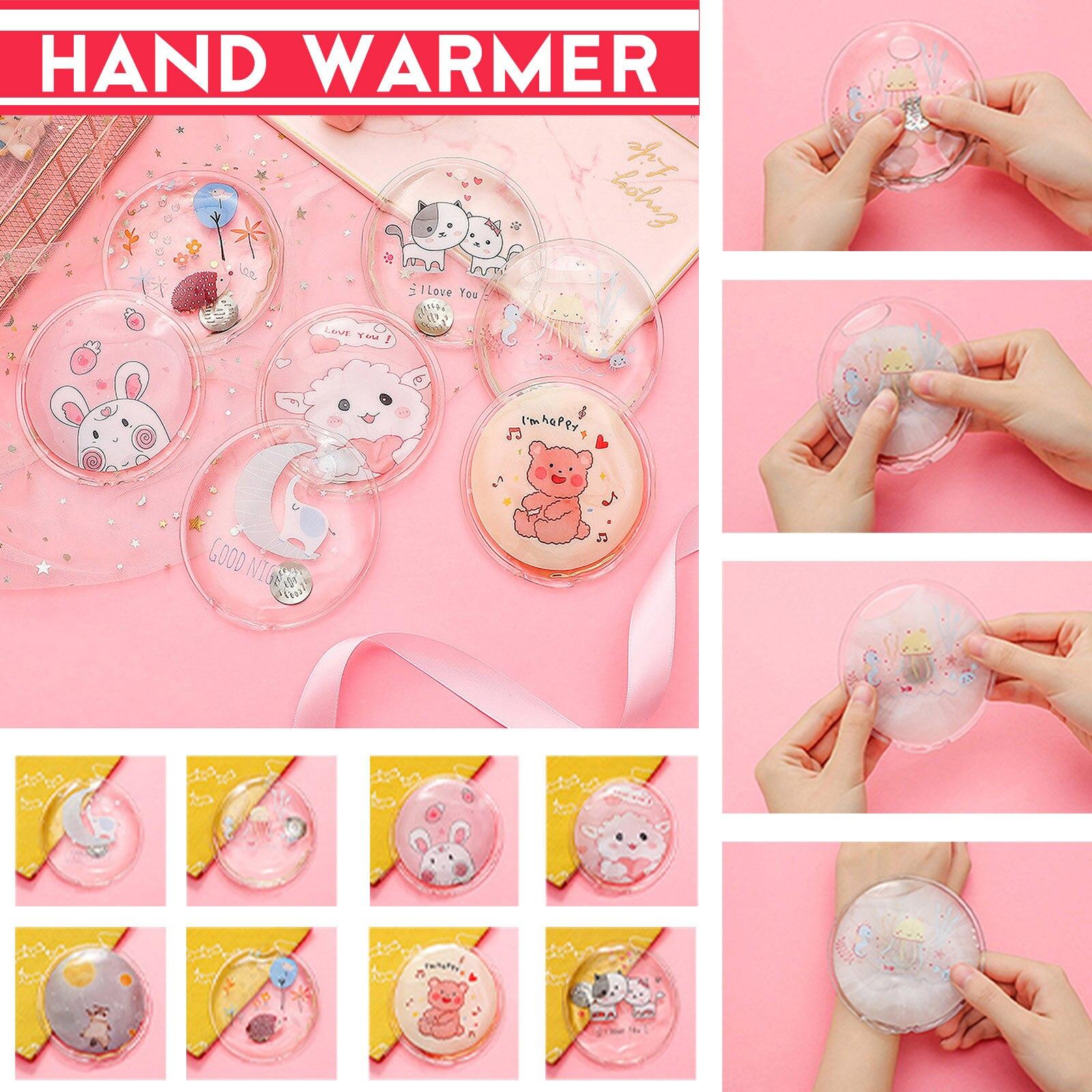Многоразовая гелевая мини-грелка для рук, милая мультяшная упаковка для мгновенного самонагрева, теплые принадлежности, грелка для рук в бу...