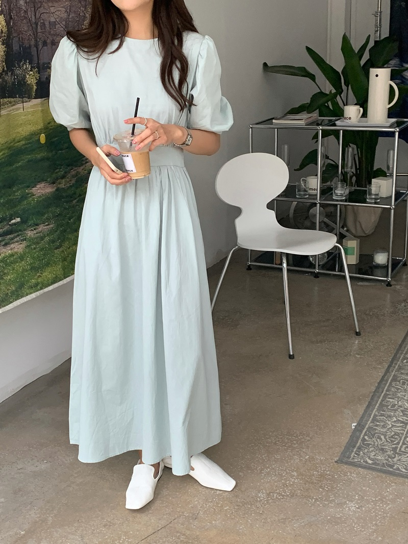H050781b54a414b5b88ee2643b34dc96am - Summer O-Neck Short Sleeves Elastic-Waist Calf Length Solid Dress