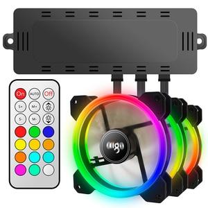 Image 2 - Aigo 2019 DR12 Computer PC Case Fan RGB Adjust LED Fan 120mm RGB FAN Quiet Remote Computer Cooler Cooling RGB Case Fans