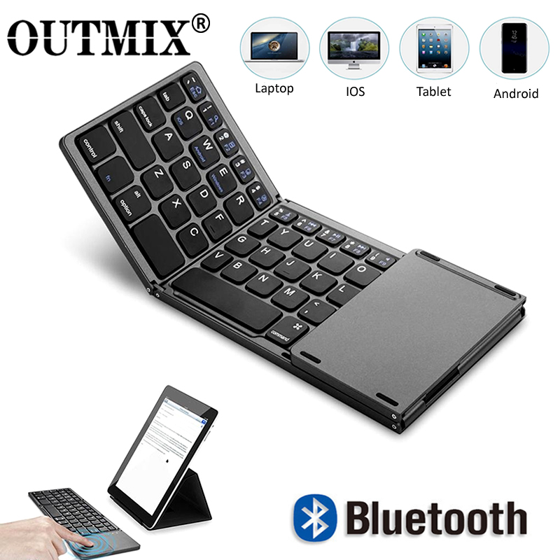 OUTMIX New Portable Mini Three Folding Bluetooth Keyboard Wireless Foldable Touchpad Keypad For IOS Android Windows Ipad Tablet