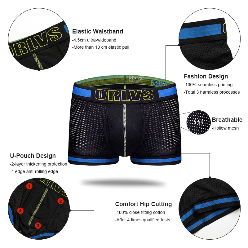 3Pcs Sexy underwear cueca boxer Men Mesh Shorts plus size Solid Men's Clothing boxers panties shorts Sexy fat guy 100kg Mens 2