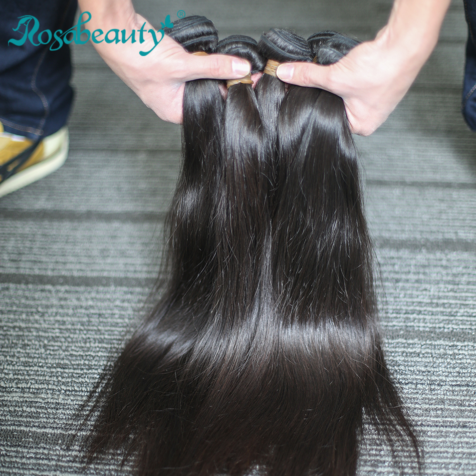 Rosabeauty 4 Bundles/Lot 10-28 Inch Natural Color Brazilian Straight Bundles Virgin Hair Weft 100% Human Hair Weave Grade 10A