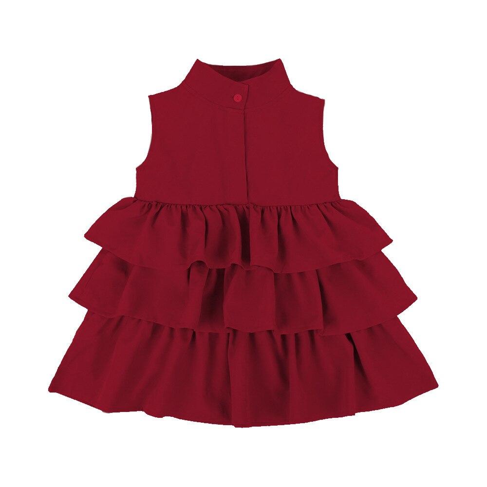 2020 New Summer Cute Black Green Ball Gown Girls Dresses Kid Girl Party Dress Sleeveless O Neck Cake Ruffled Tutu Bubble Dress
