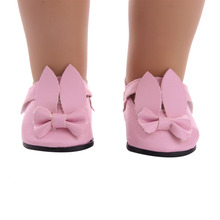 1 pair of 7cm fashion mini toy bunny shoes for 18 inch American dolls and 43cm rebirth doll, generation, gift