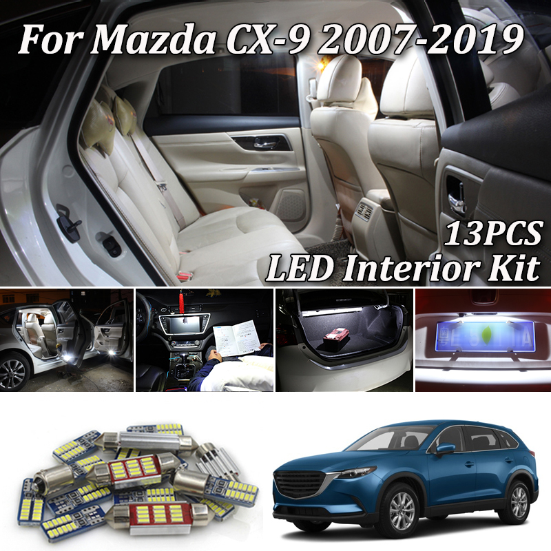 13X White Canbus led Car interior lights Kit for <font><b>Mazda</b></font> <font><b>CX</b></font>-<font><b>9</b></font> CX9 led Map Dome Trunk Vanity Mirror License Plate Light 2007- 2019 image