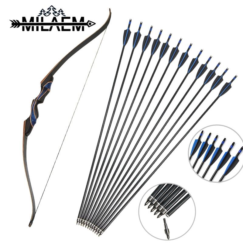 30-60lbs Archery Takedown Recurve Bow Longbow Set 12x Aluminum Arrows Right Hand