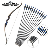 56 Archery Recurve Bow 20 50lbs Takedown Hunting Long Bow Kit with 12Pcs Fiberglass Arrows Shooting Hunting Archery Accessories