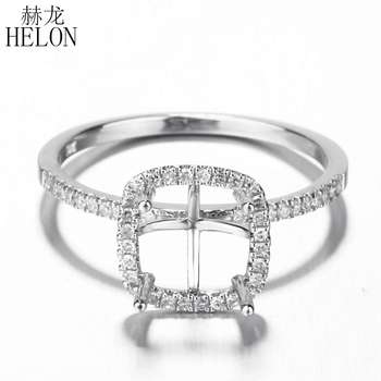 HELON 7mm Cushion Solid 10K White Gold Real Natural Diamond Halo Semi Mount Engagement Wedding Ring For Women Fine Jewelry Gift image
