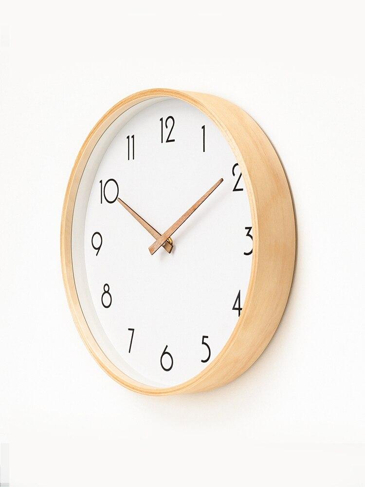 Massivholz Nordic Wanduhr Modernes Design Wohnzimmer Wand Uhren Wohnkultur Kreative Stille Schlafzimmer Uhren Duvar Saati FZ599
