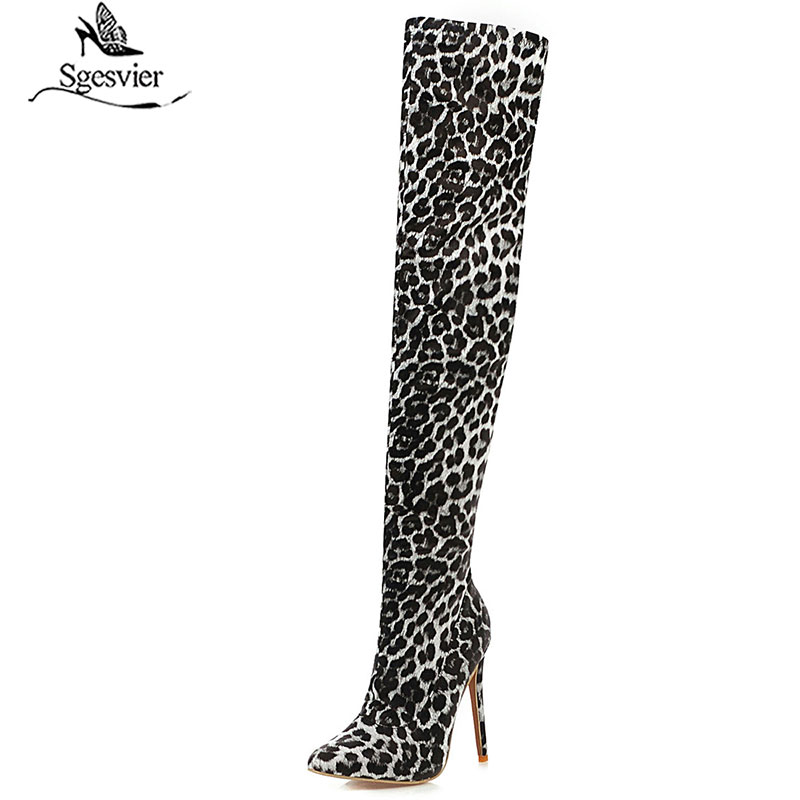 Sgesvier Women Winter Over The Knee Boots Pointed Toe Leopard Zipper Long Boot Thin High Heel PU Leather Women Shoes G748
