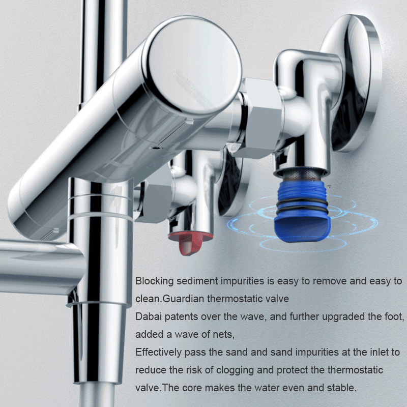 Image 5 - Diiib dabai Home Safe Thermostatic Handheld Shower Head Set Stainless Steel 6 Modes Faucet Shower Hose Lifting Rod From xiaomiShower System   -