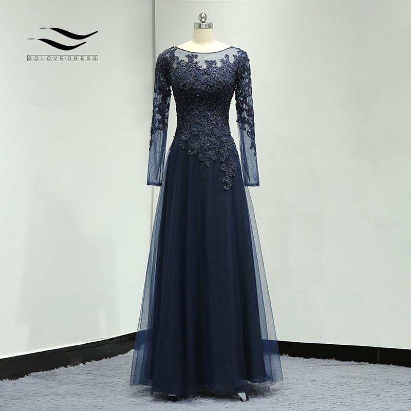 Floor Length Beading Lace Illusion Formal Wedding Gown Chiffon Elegant Lined Mother Of The Bride Dress Vestido De Festa SL-S015