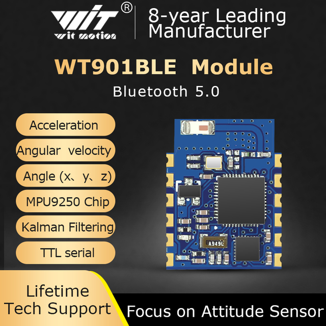 Bluetooth Inclinometer WT901BLE MPU9250 Accelerometer+Gyro+Magnetometer, Low consumption Ble5.0, Compatible with IOS/Android/PC