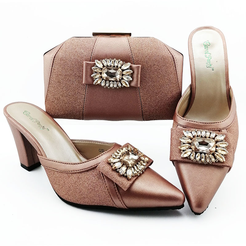 High quality peach color fashion sandal shoes with clutches bag 2019 new design shoes matching bag SB8425-1