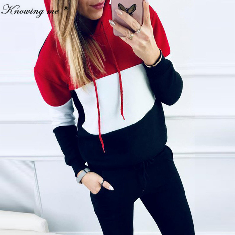Women Winter Sport Tracksuit Sets Lady Casual Autumn Long Sleeve Thicken Hooded Sweatshirts 2 Piece Set Female Patchwork Suits