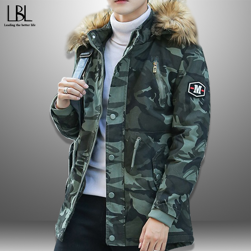Men's Camo Parka 2020 Winter Long Thick Jacket Army Green Wadded Coat Warm Fur Collar Casual Hooded Overcoat Male Hat Detachable