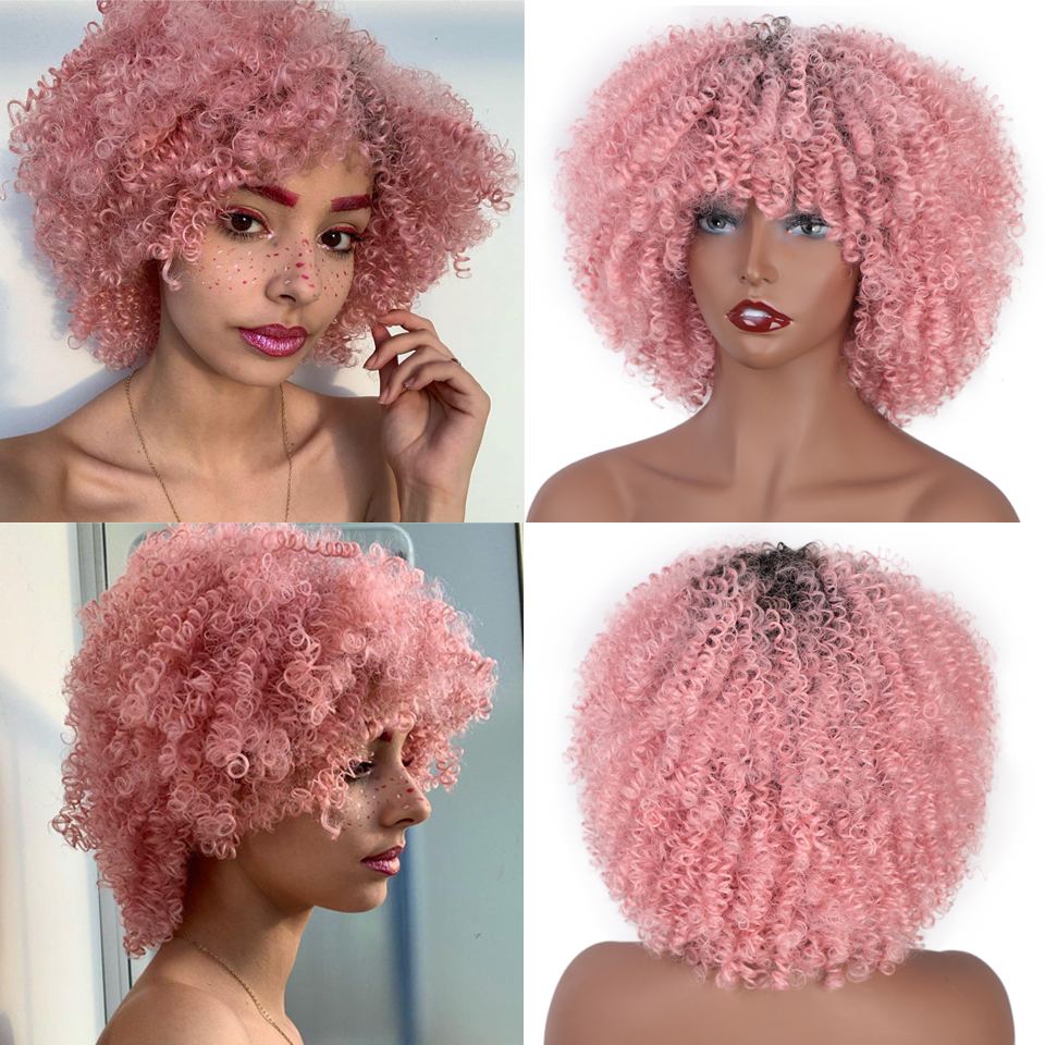 Vigorous Synthetic Wigs Short Afro Kinky Curly Ombre Pink Hair For Black Women 10Inches Wigs Natural Purple Heat Resistant Hair