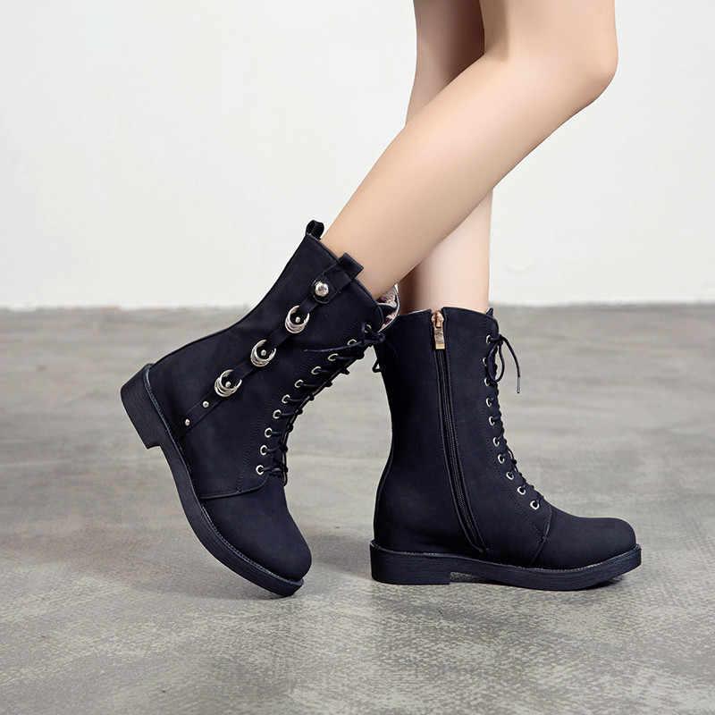 ASUMER büyük boy 34-43 moda yarım çizmeler yuvarlak ayak zip med topuklar ayakkabı kadın balo çizmeler çapraz bağlı sonbahar kışlık botlar 2020