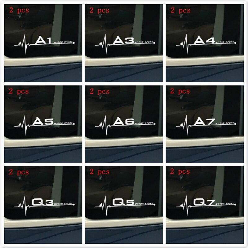 2 Pcs Car Logo Styling Dedicated Sticker Decal Car Body Glass Stickers Accessories For Audi A1 A3 A4 A5 A6 A7 A8 Q2 Q3 Q5 Q7 TT