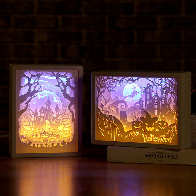 Halloween Christmas Home Decor Room Desk Decoration Ornaments LED 3D Lamp Paper Carving Light Night Lamp Art Gift Night Light
