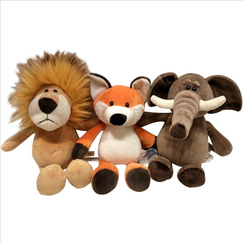 25cm Soft Animal World Plush Toys Lion Elephant Fox Raccoon Giraffe Forest Animals Appease Playmate Calm Doll Christmas Gifts