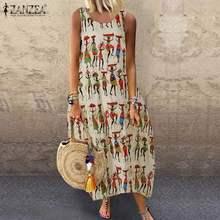 Linen Dresses Sarafans-Robe Vestido Printed Vintage Cotton Summer ZANZEA Sleeveless Tank