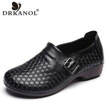 DRKANOL 봄 가을 정품 가죽 슬립 로퍼 여성 플랫 신발 빈티지 소프트 하단 캐주얼 운전 신발 여성 Moccasins