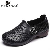 DRKANOL Spring Autumn Genuine Leather Slip On Loafers Women Flat Shoes Vintage Soft Bottom Casual Driving Shoes Women Moccasins