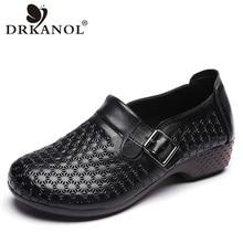 DRKANOL printemps automne en cuir véritable sans lacet mocassins femmes chaussures plates Vintage fond souple chaussures de conduite décontractée femmes mocassins