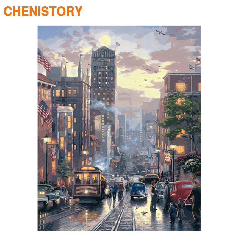 CHENISTORY Frame DIY Painting By Numbers City Street Night Kit Canvas Picture Hand Painted Oil Painting For Home Decoration Gift