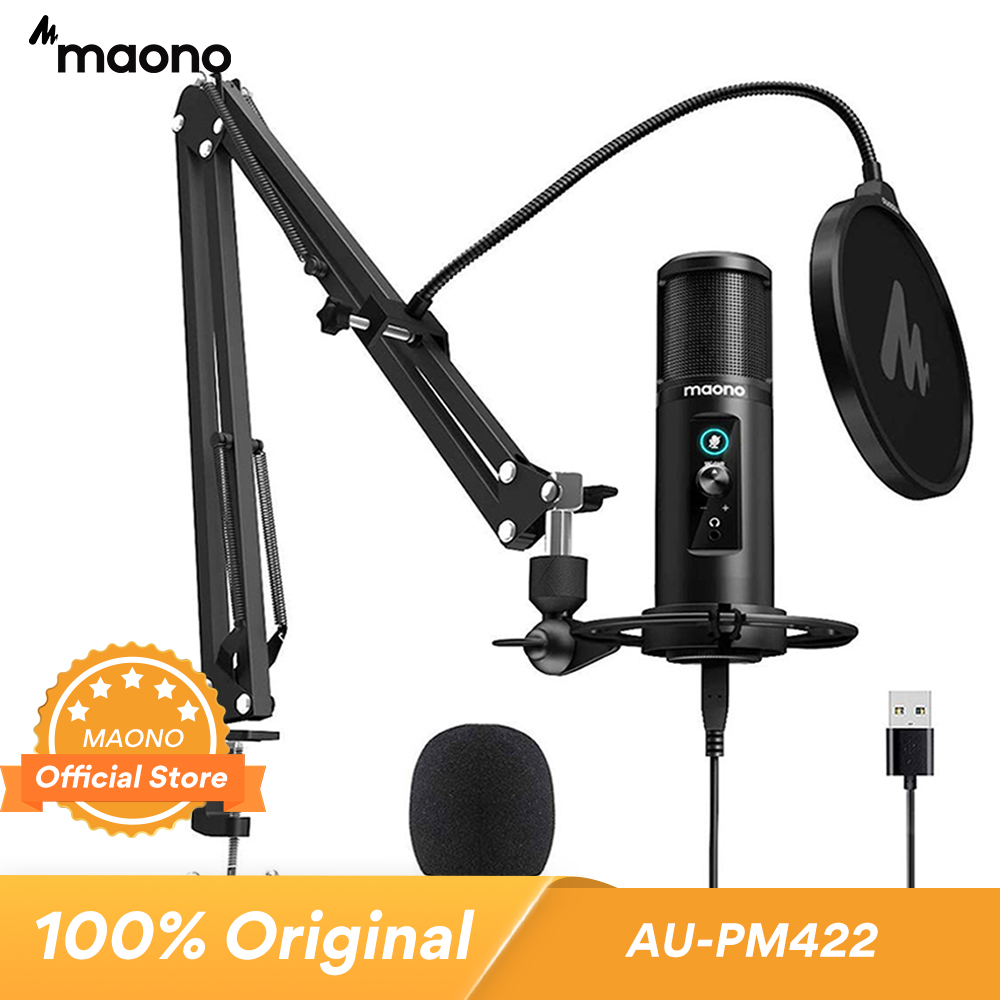 MAONO PM422 USB Microphone Zero Latency Monitoring 192KHZ 24BIT Professional Cardioid Condenser Mic with Touch Mute Button