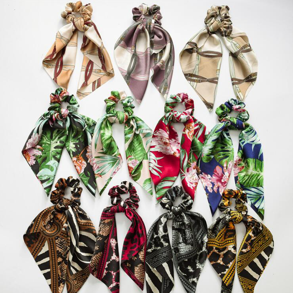 Leopard Print Scrunchies For Women Elastic Rubber Hair Bands Streamers Bow Hair Scarf Hair Rope Ties Fashion Hair Accessories