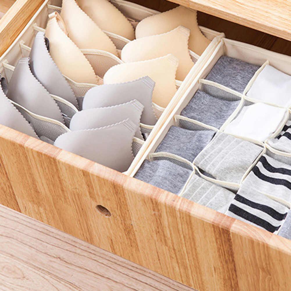 1/3 個マルチグリッド折りたたみ洗えるホーム靴下下着収納ケースオーガナイザー収納ボックスホーム