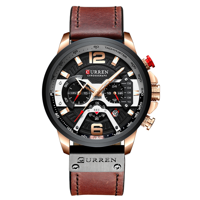 Curren Retro Mens Watches Top Brand Luxury Chronograph Men Watch Leather Luxury Waterproof Sport Watch Men Male Clock Wristwatch | Fotoflaco.net