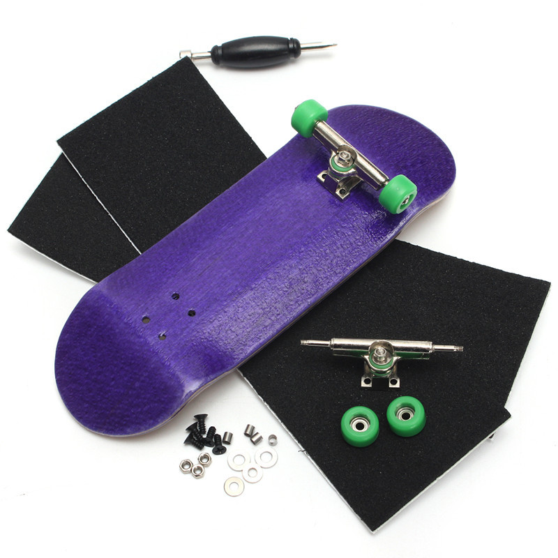 Purple Wooden Finger Skateboards Professional Finger Skate Board Wood Fingerboard With Bearings Wheel Foam Screwdriver